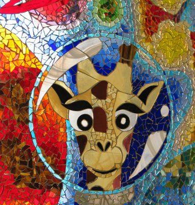 Mosaãque_Verre_Panneau_Artisanal_Artiste_Récup_Girafe_Design_Multicolore