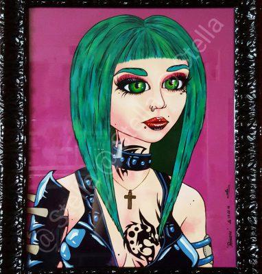 Portrait_Acrylique_Original_Femme_rock_Vert_Violet_Noir_Chair_Piercings_Tatouages_Artiste_Art_Peinture